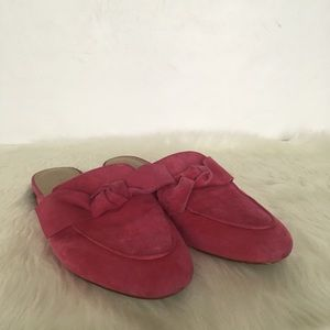 Ann Taylor Hot Pink Suede Bow Slides / Size / 8.5